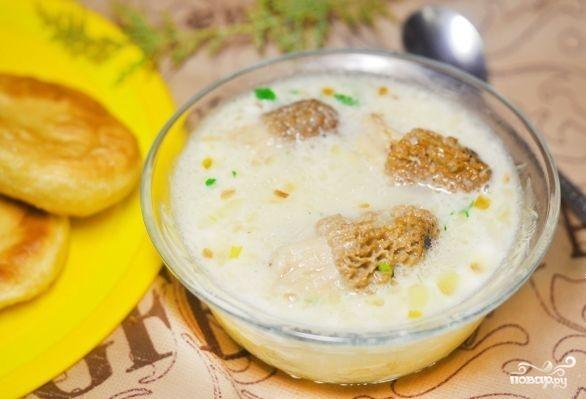 Суп со сморчками в мультиварке