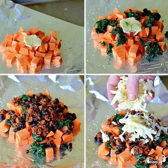 Запеченный сладкий картофель с фасолью и говядиной - фото шаг 3