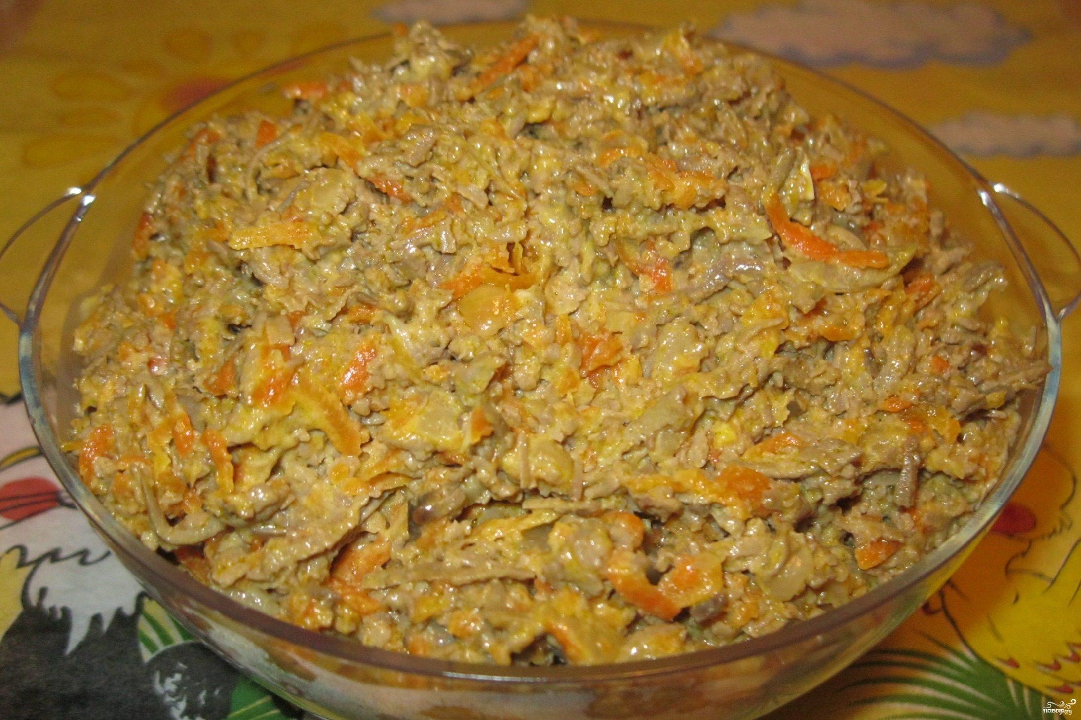 рецепт салата из трески с морковью и луком