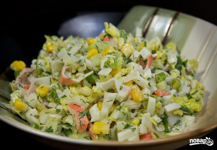 Салат крабовые палочки кукуруза
