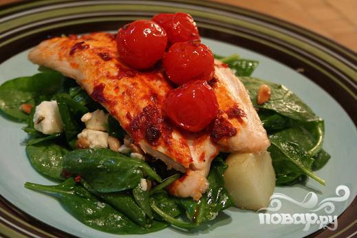 Рецепт Жареный лосось с винегретом