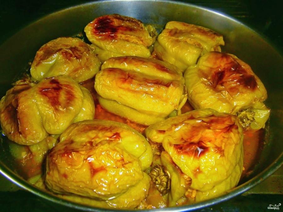 Перец фаршированный мясом и рисом запеченный в духовке рецепт