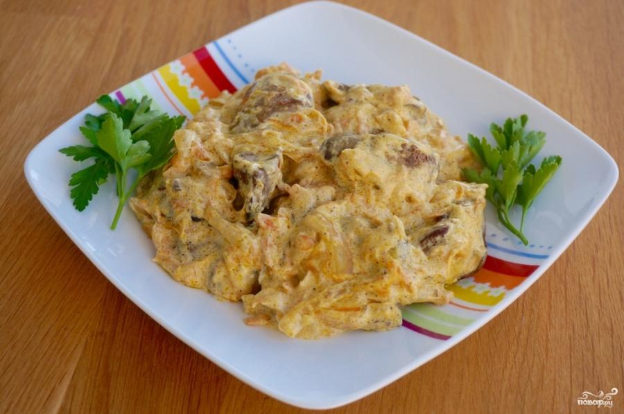 Куриная печень в сметанном соусе - фото шаг 10