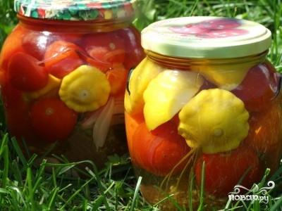 Патиссоны, маринованные с помидорами