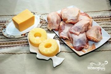 Рецепт Куриные отбивные с ананасом и сыром в духовке