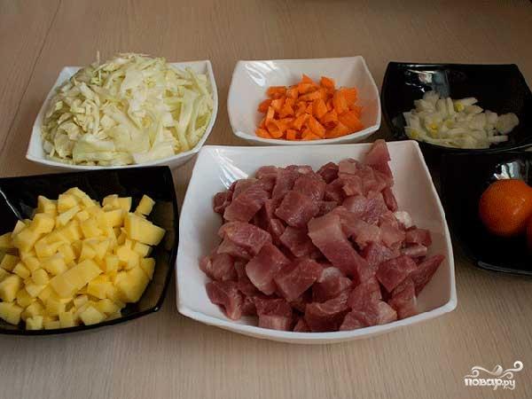 Овощное рагу с мясом и картошкой - фото шаг 1