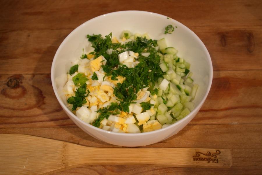 Салат с тунцом, рисом и сыром - фото шаг 3