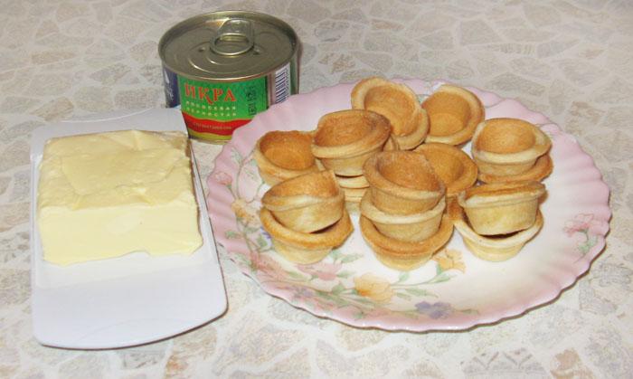 Рецепт Тарталетки с икрой и маслом