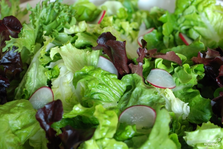 Весенний салат с французской заправкой - фото шаг 8
