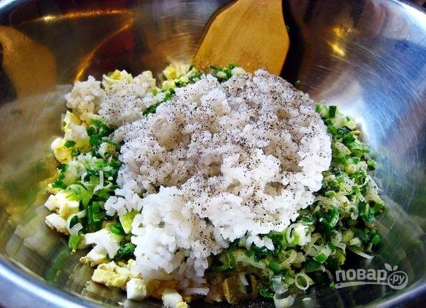 Пирожки с черемшой, рисом и луком - фото шаг 2