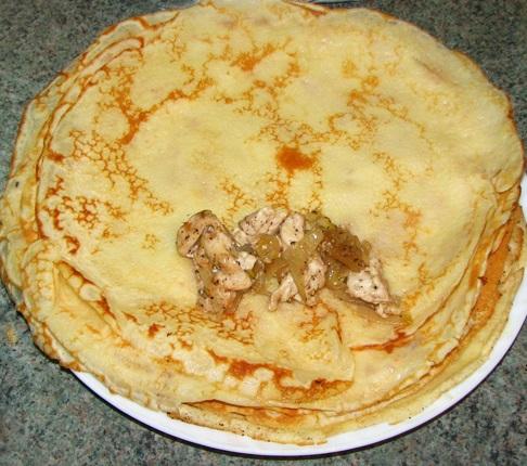 Блинчики с курицей и сыром - фото шаг 5