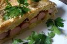 Пирог с сосиской и картошкой