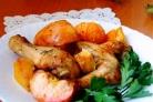 Курица с овощами и фруктами