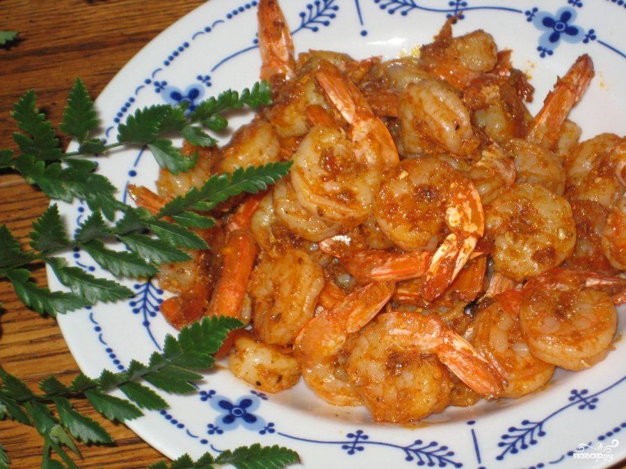 Рецепт Жареные креветки с чесноком