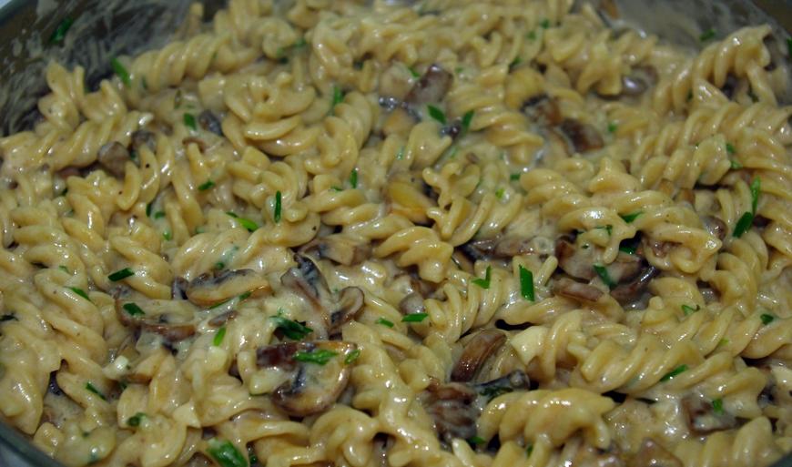 Паста с грибами и ветчиной в сливочном соусе рецепт с фото