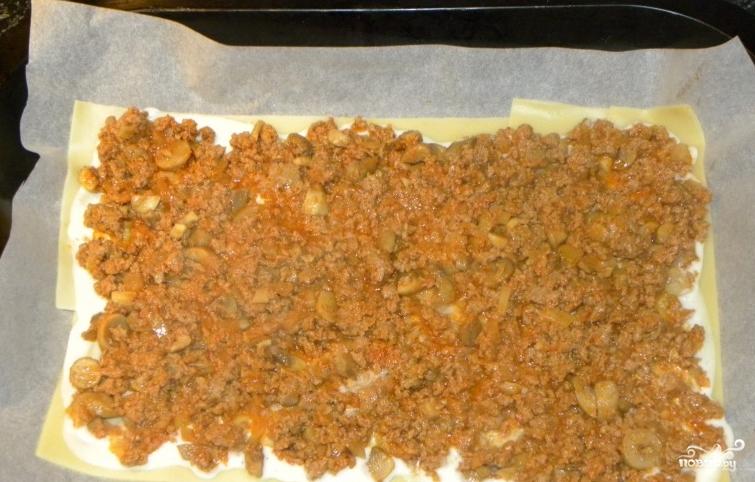 Лазанья с мясом и грибами - фото шаг 4