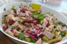Фасолевый салат с ветчиной