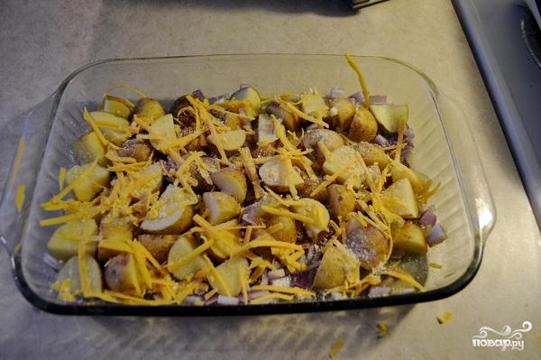 Картофель со свининой и сыром в духовке - фото шаг 7