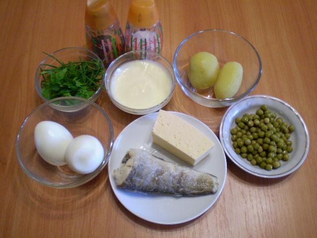 Рецепт Слоеный рыбный салат