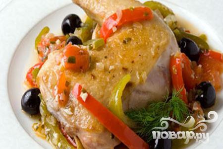 Рецепт Курица, тушенная с маслинами