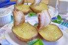 Картошка с салом в духовке Кораблики