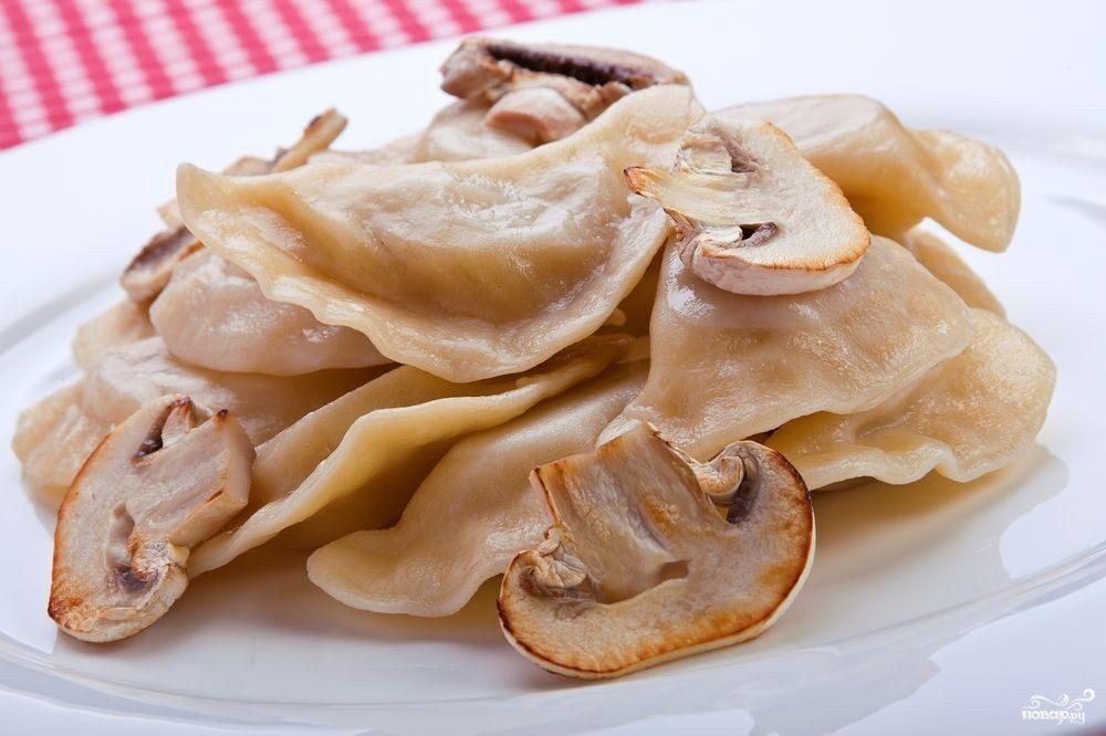 Постные вареники с грибами