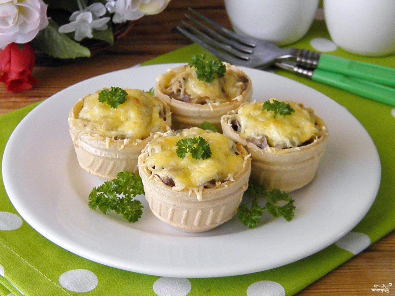 тарталетки с грибами и курицей рецепт с фото пошагово