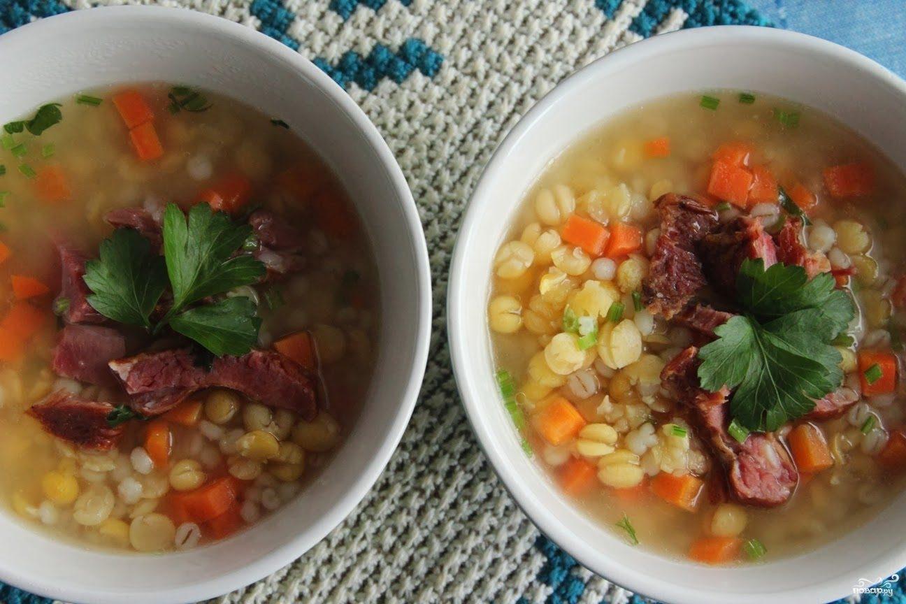 Рецепт Гороховый суп с копчеными ребрами