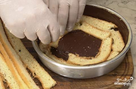 Торт с кусочками бисквита и фруктами - фото шаг 3