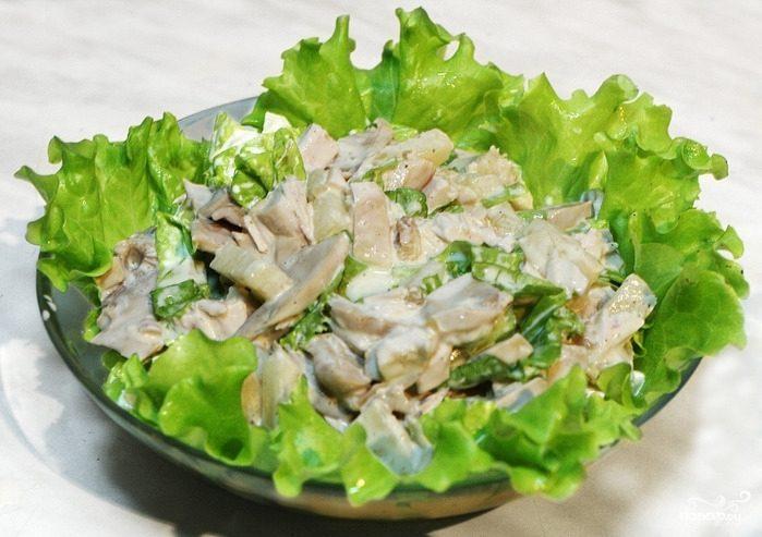 Салат из грудки и шампиньонов