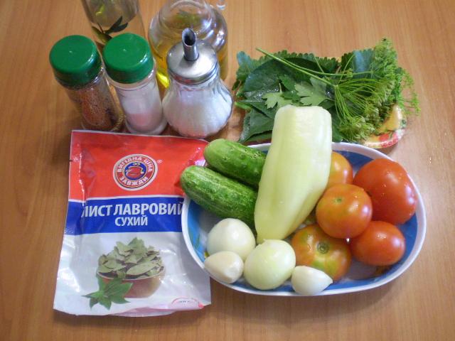 Рецепт Салат из помидоров и огурцов на зиму