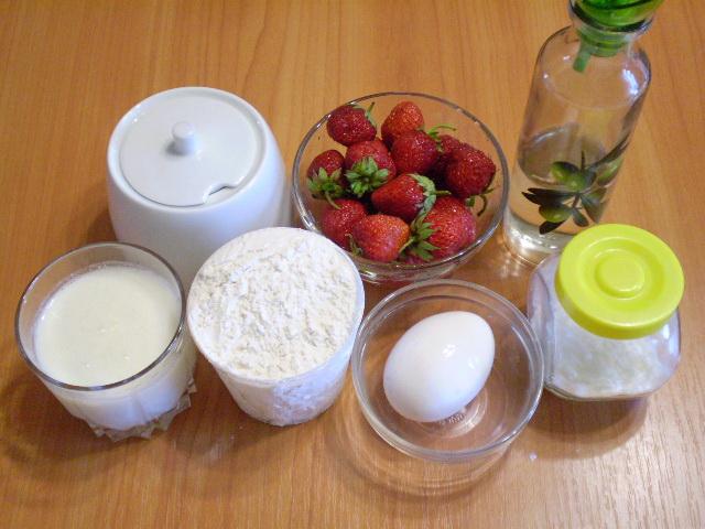 Рецепт Клубничный пирог на кефире