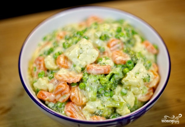Овощи под сливочным соусом