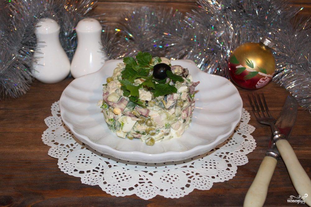 """Салат """"Новогодний"""" с куриной грудкой"""