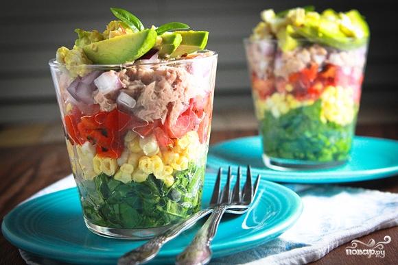 Слоеный салат с тунцом - фото шаг 3