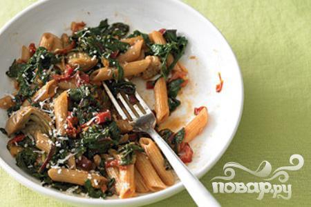 Рецепт Паста с куриными колбасками и помидорами