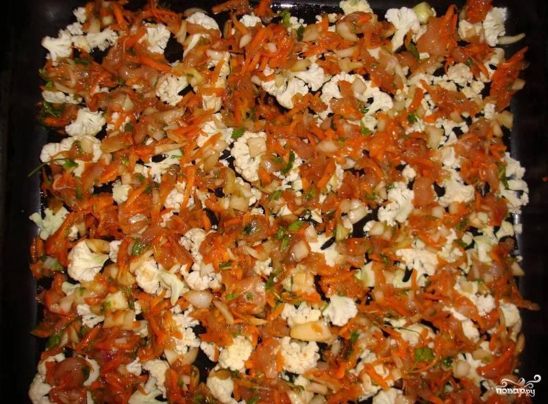 Цветная капуста с яйцом и помидорами - фото шаг 3