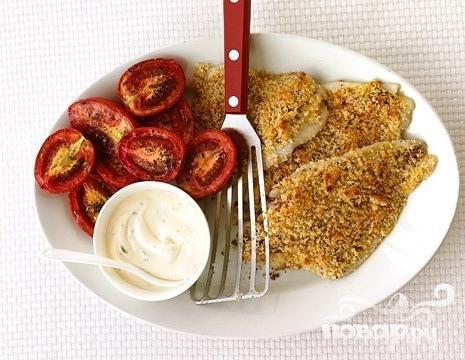 Рецепт Запеченная камбала с помидорами