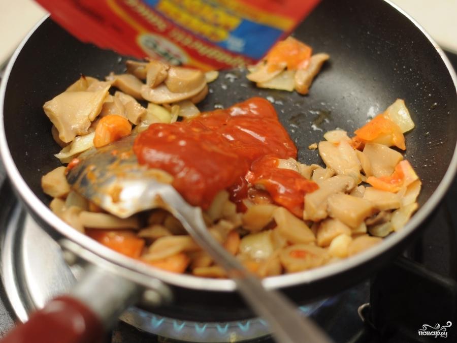 Омлет с шампиньонами и помидорами - фото шаг 5