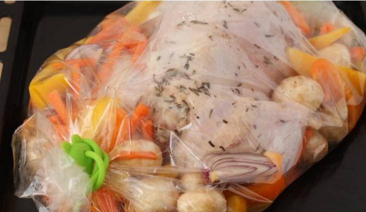 курица с картошкой в рукаве в духовке с грибами