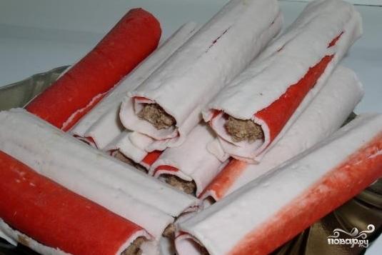 Крабовые палочки фаршированные в кляре - фото шаг 3