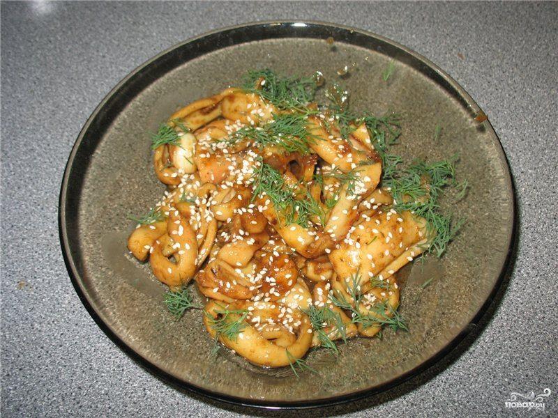 Рецепт Кальмары с чесноком