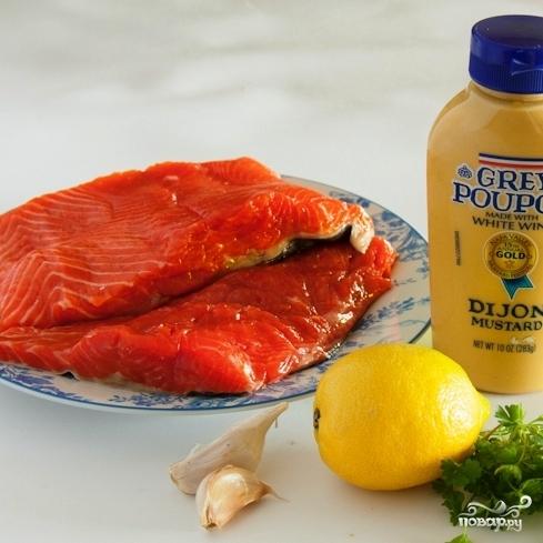 Рецепт Запеченный лосось с чесноком и горчицей