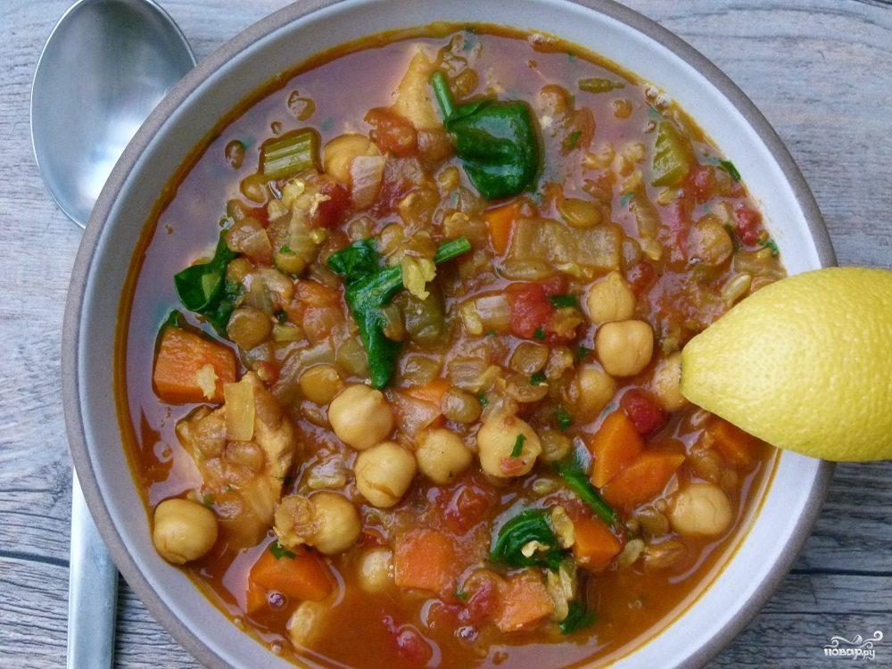 Марокканский суп с рисом, нутом и чечевицей