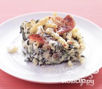 Рецепт Паста со шпинатом, рикоттой и ветчиной
