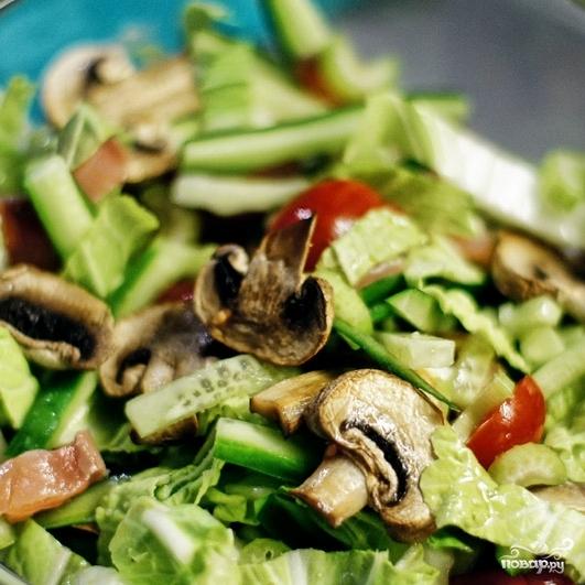 Свежий салат с семгой - фото шаг 7