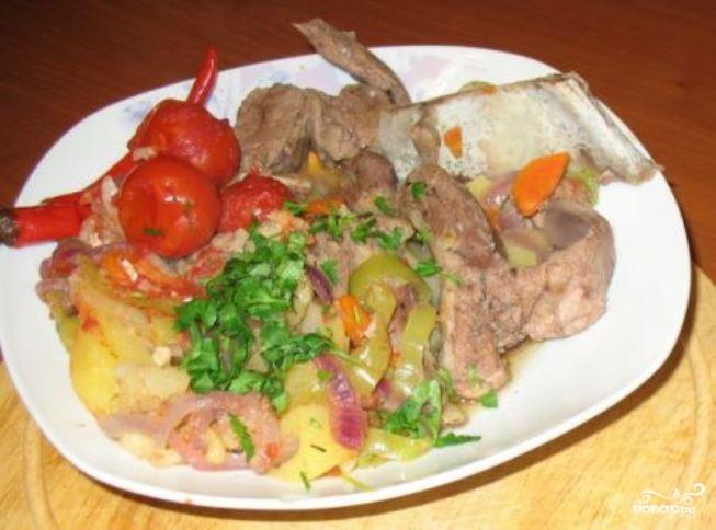 Мясо в казане с картошкой видео рецепт