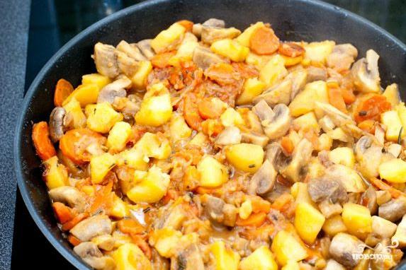 рагу с курицей и грибами пошаговый рецепт с фото