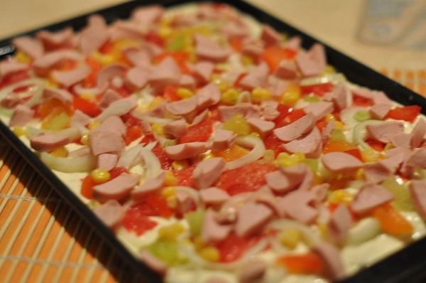 Быстрая пицца на противне рецепт с фото