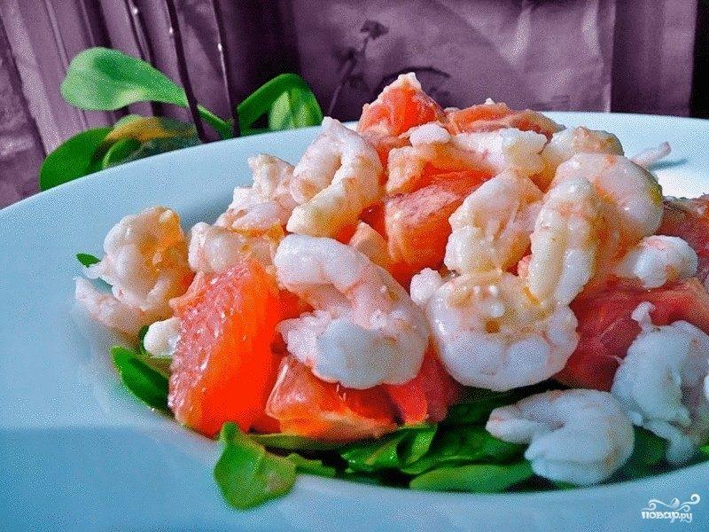 Салат с креветками авокадо и грейпфрутом  Рецепт с фото